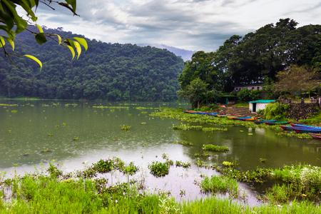 nepali: August 20, 2014 - Phewa lake in Pokhara, Nepal