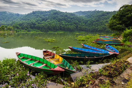 August 20, 2014 - Boats by the Phewa lake in Pokhara, Nepal Editorial