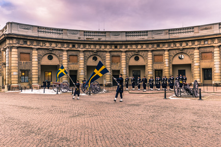 January 21, 2017: Changing of the guard in the royal palace of Stockholm, Sweden