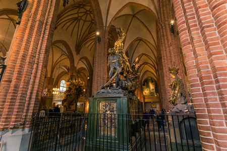 January 21, 2017: Statue of Saint George slaying the dragon in the Cathedral of Stockholm, Sweden Editorial