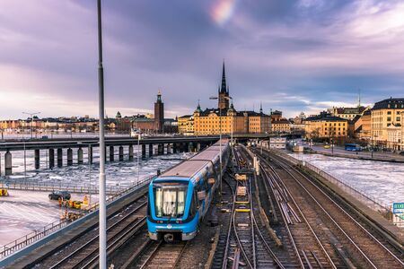 sweden winter: January 21, 2017: Subway railway in the old town of Stockholm, Sweden