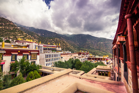 misterious: August 12, 2014 - Drepung Monastery in Lhasa, Tibet Stock Photo