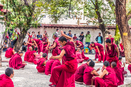 August 13, 2014 - Monks debating in Sera Monastery, Tibet