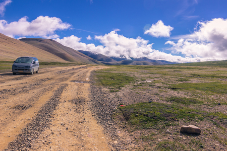 misterious: August 16, 2014 - Tour car in the countryside of Tibet