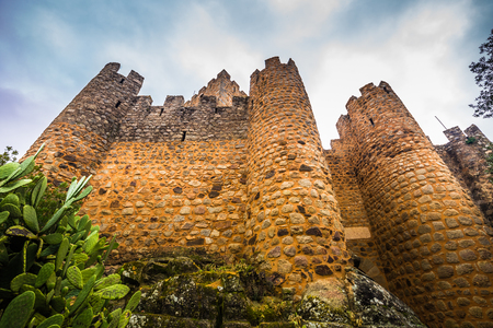 January 04, 2017: The walls of the medieval castle of Almourol in Ribatejo, Portugal