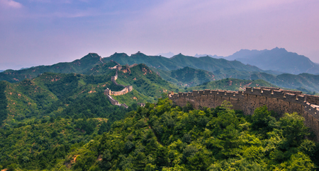 China - July 19, 2014: Panorama of the Great Wall of China in Jinshanling
