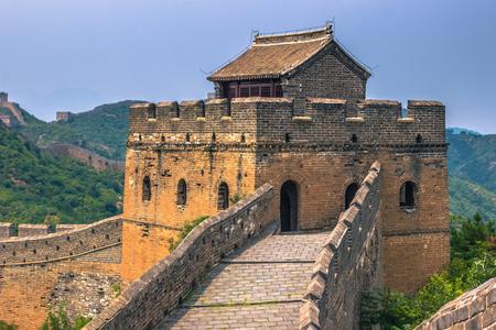 China - July 19, 2014: Close-up of the Great Wall of China in Jinshanling Stock Photo