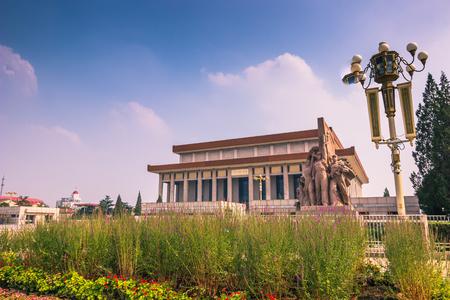 Beijing, China - July 20, 2014: Mao zedong mausoleum in Tiananmen square Editorial