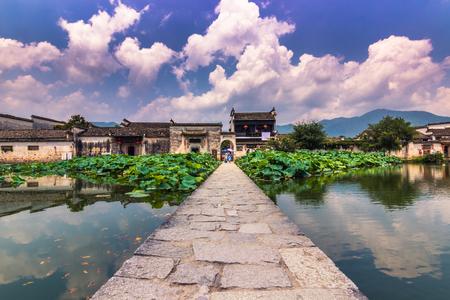 Hongcun, China - July 28, 2014: Entrance to the ancient of Hongcun Editorial