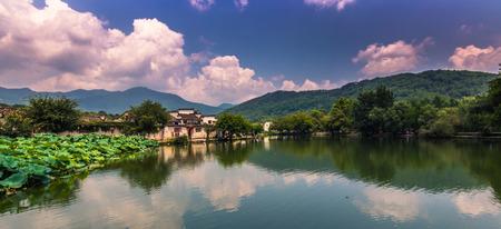 Hongcun, China - July 28, 2014: Lake in Hongcun village Editorial