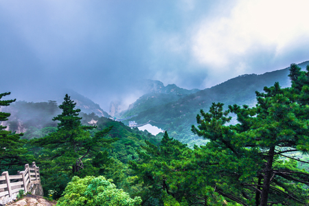 Huangshan, China - July 29, 2014: Landscape of the Yellow Mountains Stock Photo