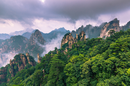 Huangshan, China - July 29, 2014: Peak of the Yellow Mountains Stock Photo