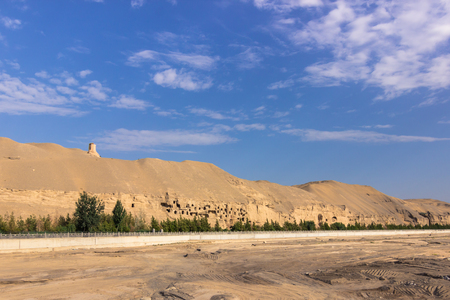 Dunhuang, China - August 05, 2014: Landscape near the Mogao caves in Dunhuang, China