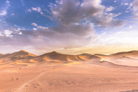 crescent: Dunhuang, China - August 05, 2014: Dunes of the Gobi desert in Dunhuang, China