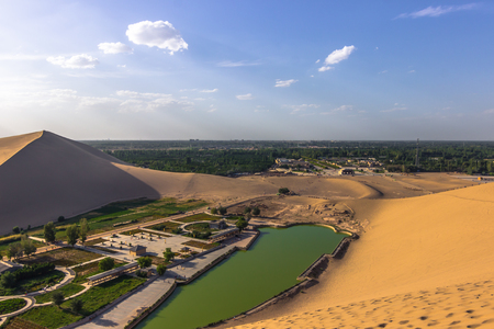 crescent: Dunhuang, China - August 06, 2014: The Crescent Lake Oasis in Dunhuang, China