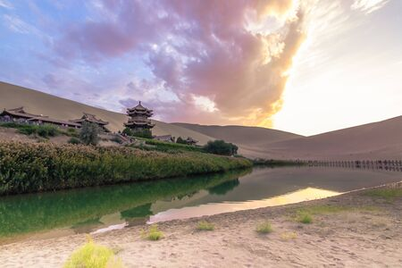 Dunhuang, China - August 06, 2014: The Crescent Lake Oasis in Dunhuang, China