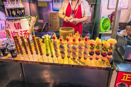 Beijing, China - July 19, 2014: Night food market of Wangfujing