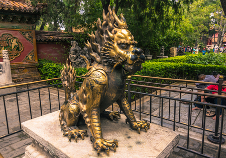 Beijing, China - July 20, 2014: Statue of an animal in the Forbidden City