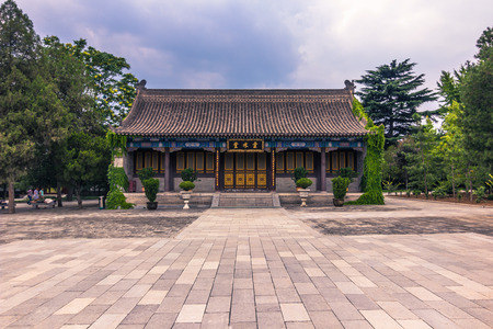Xian, China - July 23, 2014: Temple hall at the Big Wild Goose Pagoda temple complex
