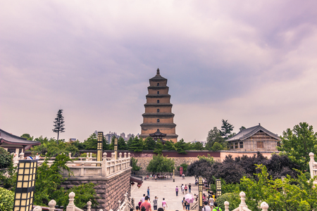 Xian, China - July 23, 2014: Big Wild Goose Pagoda temple complex Editorial