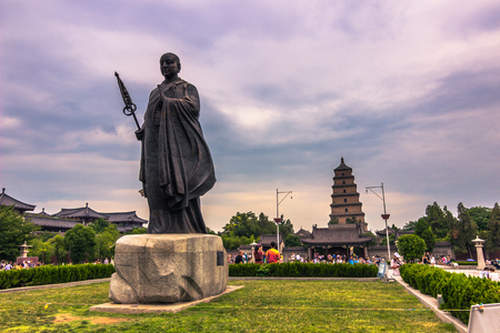 Xian, China - July 23, 2014: Statue of Xuanzang in the Big Wild Goose Pagoda temple complex