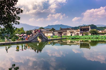 Hongcun, China - July 28, 2014: Bridge of Hongcun village