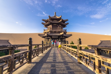Dunhuang, China - August 06, 2014: Inside the Crescent Lake Oasis in Dunhuang, China Редакционное