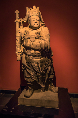 Xian, China - July 21, 2014 : Statue at the Forest of Stone Steles Museum Editorial