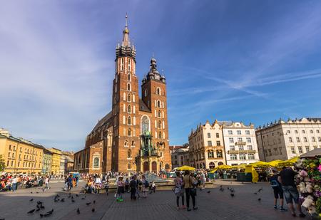 Krakow, Poland - May 12, 2016: Saint Marys Basilica in Krakow, Poland