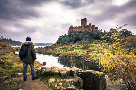 January 04, 2017: Panoramic view of the medieval castle of Almourol in Ribatejo, Portugal