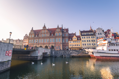 lift gate: January 28, 2017: Old town harbor of Gdansk, Poland Editorial