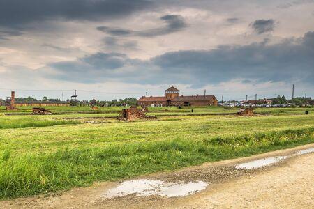 auschwitz memorial: Auschwitz , Poland - May 14, 2016: Auschwitz Birkenau Concentration camp, Poland