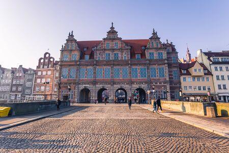 lift gate: January 28, 2017: Green gate of Gdansk, Poland