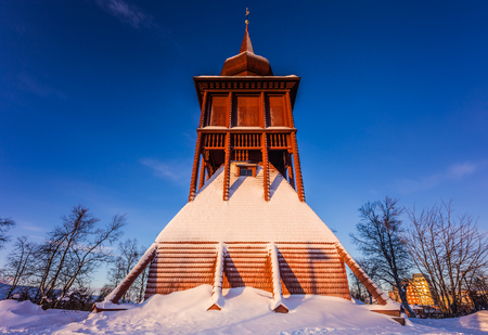 Lapland, Sweden - January 29, 2014: Tower of the Church of Kiruna, Sweden Stock Photo