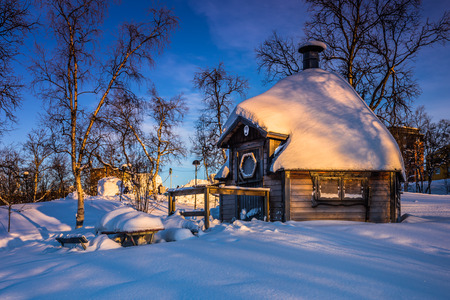 Lapland, Sweden - January 29, 2014: Wooden house in Kiruna, Sweden
