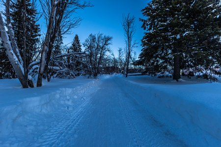 Lapland, Sweden - January 29, 2014: Path in the snow in Kiruna, Sweden Stock Photo