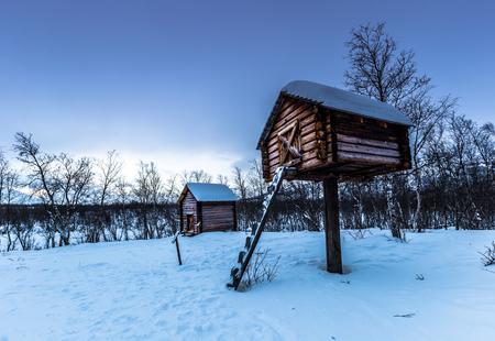 Lapland, Sweden - January 30, 2014: Sami camp in Abisko National Park, Sweden Editorial
