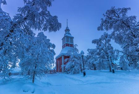 Lapland, Sweden - January 31, 2014: Church of Jukkasjarvi, Sweden