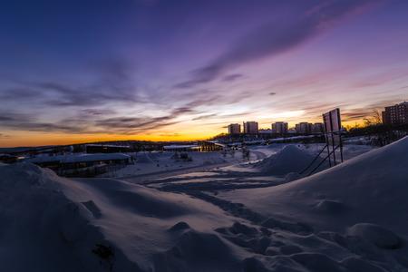 Lapland, Sweden - January 29, 2014: Landscape around Kiruna, Sweden Stock Photo