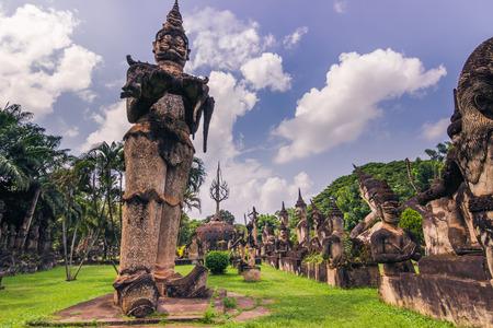 September 26, 2014: Buddhist stone statues in Buddha Park, Laos
