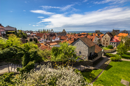 Visby, Gotland - May 15, 2015: Panorama of the town of Visby in Gotland, Sweden
