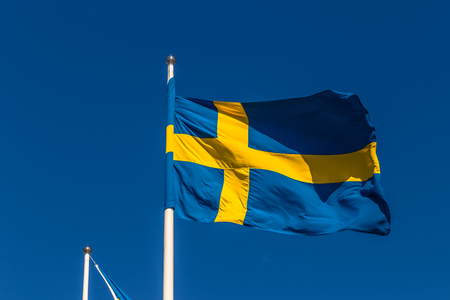 Gothenburg, Sweden - April 14, 2017: Flag of Sweden in Gothenburg, Sweden