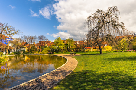 Odense, Denmark - April 29, 2017: Garden in the Hans Christian Andersen Museum Editorial