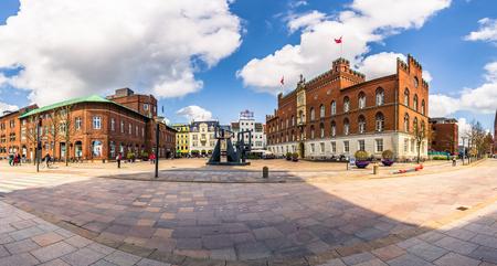 Odense, Denmark - April 29, 2017: Town center of Odense