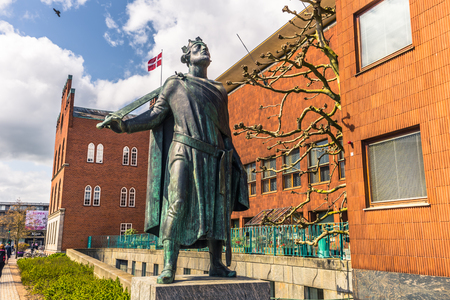 Odense, Denmark - April 29, 2017: Statue of King Cnut The Great