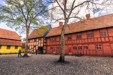 Odense, Denmark - April 29, 2017: Old town of Odense