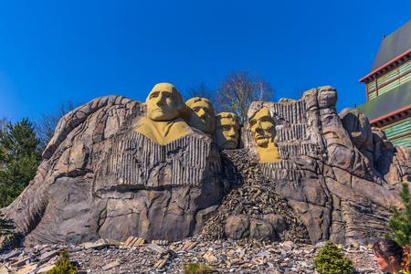 Bilund, Denmark - April 30, 2017: Miniature of Mount Rushmore in Legoland, Bilund
