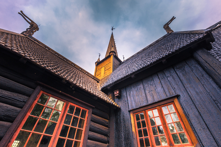 museum visit: Lillehammer, Norway - May 13, 2017: Garmo Stave Church in Lillehammer, Norway