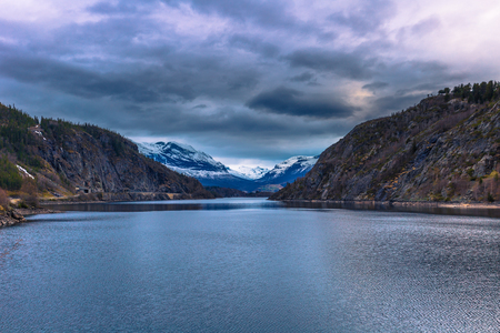 Valdres, Norway - May 13, 2017: Fjord in the countryside of Valdres, Norway Editorial