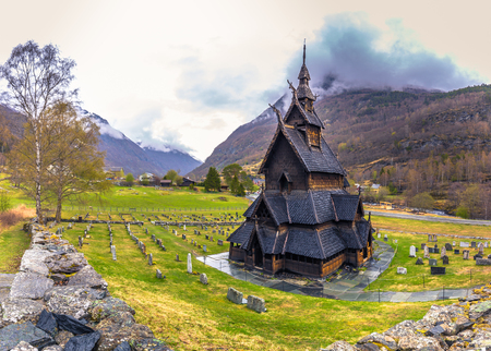 Borgund, Norway - May 14, 2017: The Stave Church of Borgund in Laerdal, Norway